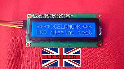 LCD Display c/w I2C Module 16 x 2 White on Blue 1602A Arduino/Pi **UK SELLER**
