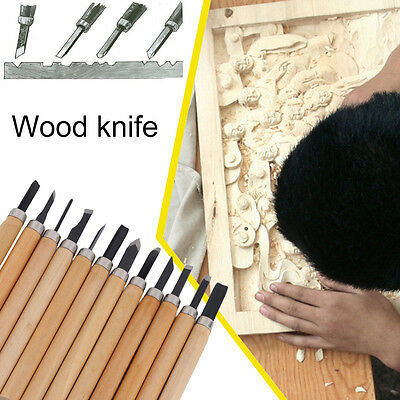 12/8/6Pcs Set Wood Carving Chisels Tool Knife Woodcut Woodworking Craft Kit FE