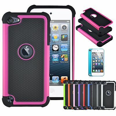 Rugged Shockproof Matte Hybrid Case Cover + Film for iPod Touch 5th 6th Gen