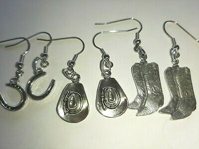 Horse Lovers, Horse Riding Hat, Boots, Horse shoe + spurs hook earrings,