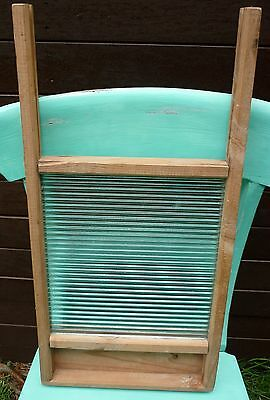 VINTAGE Collectable Timber & Ripple Glass WASHBOARD