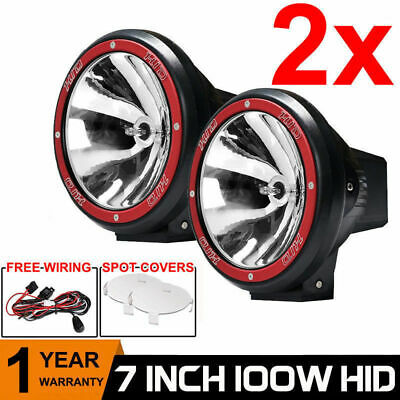 2X 7INCH HID 100W Driving Lights XENON Spot Offroad Lamp UTE SUV 4X4 Off-road