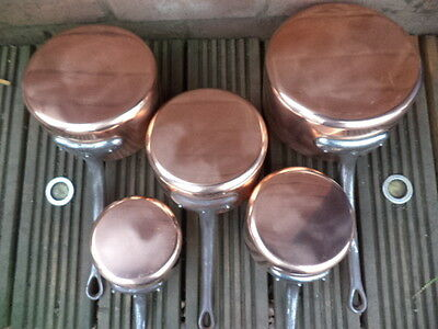 5 FRENCH COPPER PANS SAUCEPANS TIN LINED 4.1kg Fabrication Francais stamp