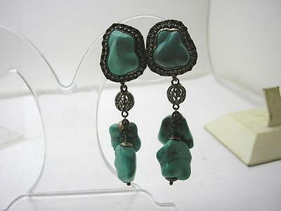 Art Nouveau Chinese Silver & Natural Turquoise Long Drop Earrings
