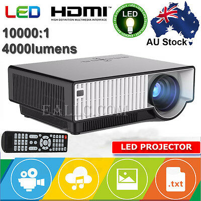 10000:1 4000 Lumens 1080P Open-Air 2D Home Movie Theater LED LCD Projector HDMI