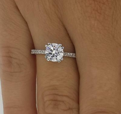 1.10ct Round-Cut Delicated Diamond Engagement Ring In Real 14K White Gold