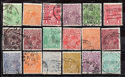 Australia KGV Heads fine used collection to 1s 3d (18V) WS2949