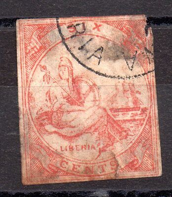 Liberia 1864 6c red spacefiller used WS2970