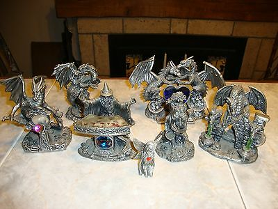 Solid Pewter Fantasy Figure Collection,As new condition, ( 7 pieces ).