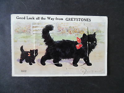 1938 Greystones Ireland Black Cat Multi View Foldout Postcard Used to Canada
