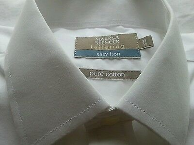 Marks &spencer Easy Iron Mens Shirt 15 Collar Double Cuffs Excellent