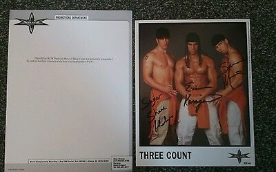 Three Count Signed Autographed WCW Promo Photo with Proof. WWE WWF Very Rare
