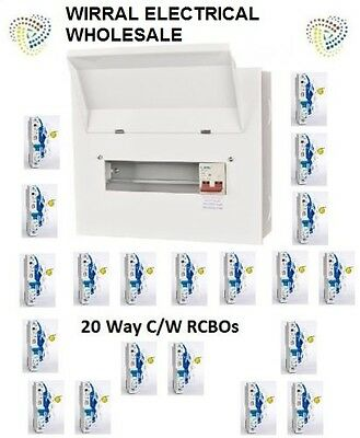 Metal Main Switch Incomer 20 Way Consumer Unit & RCBOs 17th Edition