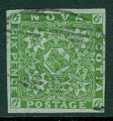 SG 5 nova scotia 6d yellow green, Very fine used, 4 large margins CAT £550