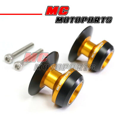 Gold Twall Racing M6 Swingarm Spools Sliders For Yamaha YZF R1 99-10 11 12 13