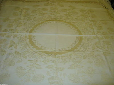 BEAUTIFUL ELEGANT Linen DOUBLE DAMASK TABLECLOTH 50X50in  Gently Used