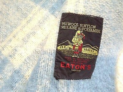 NICE  EATON's 95% wool THROW BLANKET from SCOTLAND blue & white GENTLY USED