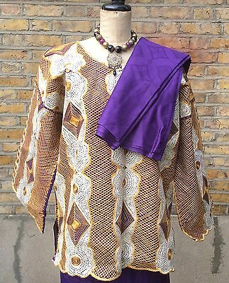 Traditional Ghanaian Women's  Bazin Cotton Dress Skirt Three Outfit Suit Purple