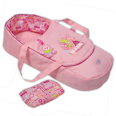"""Zapf Creation Baby Born 17"""" Pink Carrier Pillow Sleeping Bag Travel Carry Basket"""