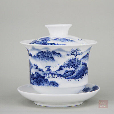 Hand painted landscape Chinese Blue and white porcelain gaiwan bowl teacup 200cc