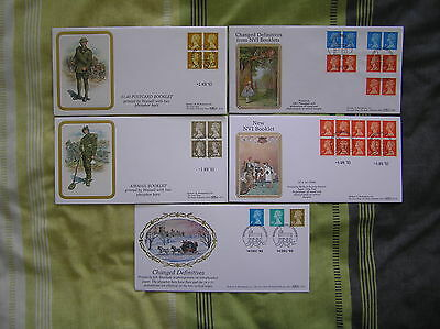 FIVE BENHAM  LTD ED FDCs 1993 (D199; D201; D214; D215; D221): WINDSOR P/Ms: VGC