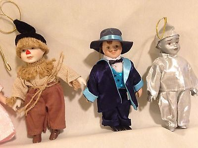 Seymore Mann~ 6 Wizard of Oz Ornaments  Dolls~hand painted porcelain CHRISTMAS
