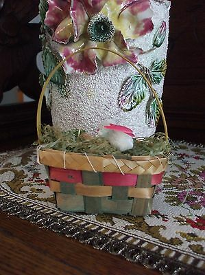 Vintage Easter Basket Woven Old Wax Paper Easter Grass Chenille Bunny Japan