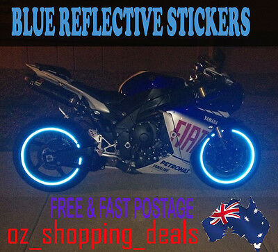 "New RIM stickers Blue Reflective Tape 6mm 16 ""17"" 18"" Motorcycle Motorbike Car"