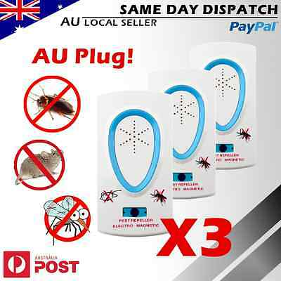3X Pest Repeller Ultrasonic Electronic Mouse Rat Mosquito Insect Rodent Control