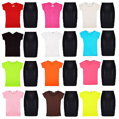 Girls Short Sleeve Top & Pencil Black Skirt Kids 2 pc Set Outfit New 7-13 Years
