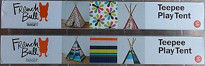 Lot of (2) French Bull Kids Play Tent Teepee ~ NEW Girl Flower and Boy Blue
