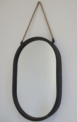 NEW Industrial Vintage Distressed Metal Rope Hanging Large Oval Wall Mirror