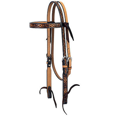 Weaver Turquoise Cross Floral Tooled Oiled Leather Browband Headstall