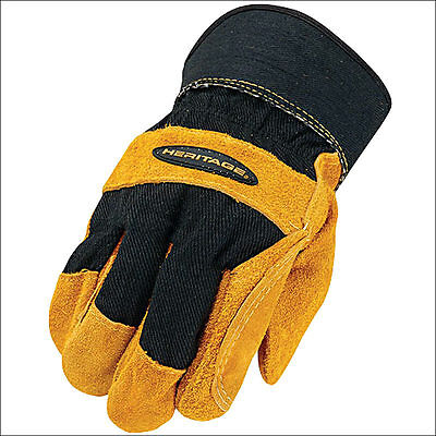 10 Size Heritage Horse Riding Fence Work Glove Genuine Leather Black/tan