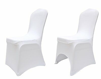 Elasticated Flat/Arched Front White Spandex / Lycra Chair Covers Wedding Dining