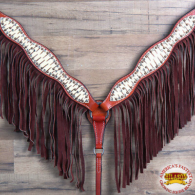 Hilason Western Leather Horse Breast Collar Tan Off White Brown Fringes