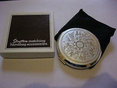 Stratton Compact Mirror Silver  Embossed New In Box