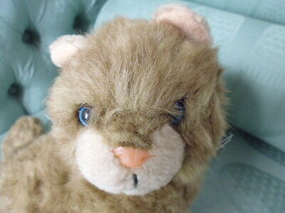 Vintage stuffed soft toy cat pink nose blue eyes