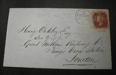 GB QV 1865 1d (plate 95) on cover