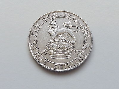 1917 Silver 1/- Shilling - Nice