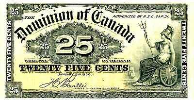 Canada …. P-9b …. 25 Cents …. 1900 …. *F++*