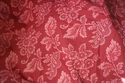 """Antique Claret red French Cotton Curtain panel c1860s Madder 36"""" x 108"""" worn"""