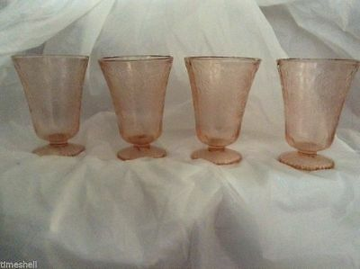 """4 FLORENTINE or POPPY #2   4"""" Pink Footed Tumblers GLASSES"""