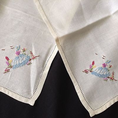 VTG PR of  Hand-embroidery CRINOLINE LADY NAPKINS Open-work hem Mitered corners