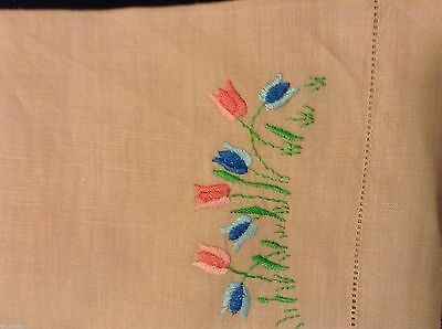 2 NICE UNUSED Vintage HAND TEA  TOWELS  Embroidered Tulips Openwork Hems 20x13in