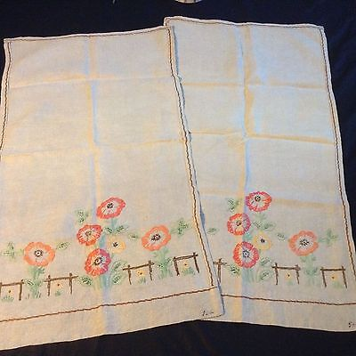 "2 NWOT Handmade LINEN TEA TOWELS Hand embroidered ECRU COLOUR 30x17""  Signed"
