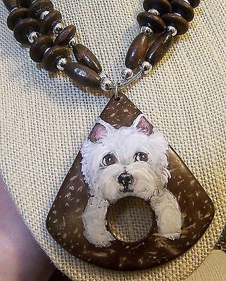 hand painted Westie on beaded  coconut shell pendant necklace earring set