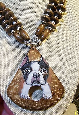 hand painted Boston Terrie on beaded  coconut shell pendant necklace earring set