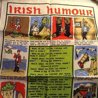 IRISH HUMOUR LINEN TEA TOWEL by ULSTER NO. 2 UNUSED Jokes Comedy 29.5x18.5""