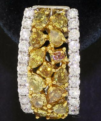 14K 2-tone gold 5.52CT Natural Fancy Yellow & White diamond cluster earrings
